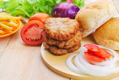 Homemade burger,hamburger with vegetable Stock Photos