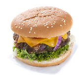 Homemade Burger isolated on white Royalty Free Stock Photography