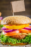 Homemade burger made ��from fresh vegetables and beef Royalty Free Stock Image