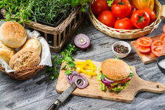 Homemade burger made ​​from vegetables and meat Royalty Free Stock Photos