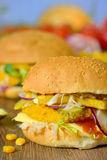 Homemade burger on the table Stock Photos