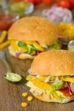 Homemade burger on the table Royalty Free Stock Image