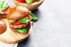 Homemade burgers Stock Photos