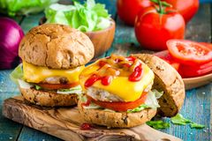 Homemade burgers with chicken cutlet Stock Photography