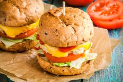 Homemade burgers with fresh vegetables and chicken cutlet closeup Royalty Free Stock Photo