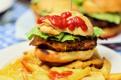 Homemade burgers Stock Photography