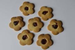 Homemade butter cookies. Homemade cookies, flower cakes, daisy cookies, shortbread butter cookies with marmalade / jam stock photos