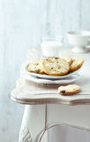 Butter cookies with pistachios on a plate Stock Images