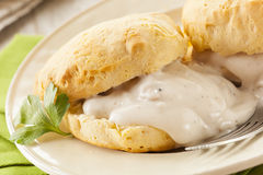 Homemade Buttermilk Biscuits and Gravy. For Breakfast Royalty Free Stock Photos