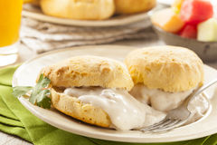 Homemade Buttermilk Biscuits and Gravy. For Breakfast Royalty Free Stock Image
