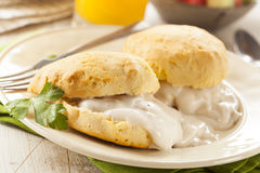 Homemade Buttermilk Biscuits and Gravy Stock Photography