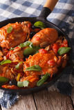 Homemade Cacciatori chicken with mushrooms in a pan vertical Stock Photography