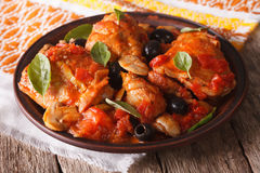Homemade Cacciatori chicken on a plate close-up. horizontal Royalty Free Stock Photo