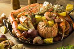 Free Homemade Cajun Seafood Boil Royalty Free Stock Photography - 131177207