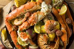 Homemade Cajun Seafood Boil. With Lobster Crab and Shrimp stock photo