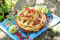 Homemade cake with apple and cherry Stock Photo