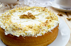 Homemade cake with butter cream and walnuts Royalty Free Stock Photography