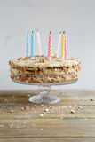 Homemade cake with candles Stock Photography