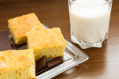 Homemade cake with chocolate and milk. Portions of homemade cake with chocolate and glass of milk for breakfast or snack Stock Image