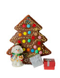 Homemade cake, christmas tree decoration and gift boxes isolated Stock Images