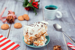 Homemade cake with Cookies with holly Stock Image
