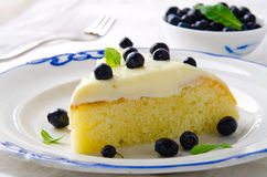 Homemade cake with cream, blueberries and mint on white background Stock Images