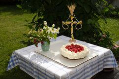 Homemade cake at a decrated table Stock Image