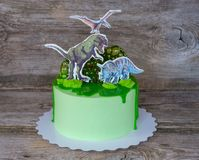 Homemade cake with figures of dinosaurs royalty free stock photos