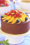 Homemade cake with fresh apricot and berries Stock Images