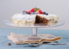 Homemade cake with fresh berries Stock Photography