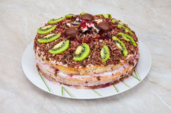 Homemade cake with fruits Royalty Free Stock Images