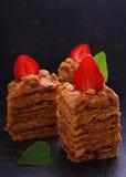 Homemade cake honey cake decorated with strawberries Stock Photo