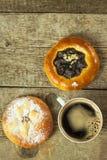 Homemade cake and hot coffee. Home Breakfast. Sweet snack. Stock Photo