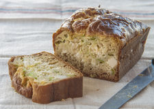 Homemade cake with leek and cheese. Close up stock photography