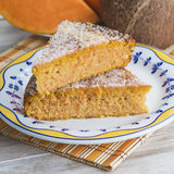 Homemade cake made of coconut and pumpkin Stock Photography