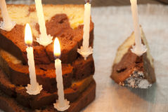 Homemade Cake With Many Candles Royalty Free Stock Photos