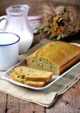 Homemade cake on milk, eggs and matcha tea. Food Royalty Free Stock Image