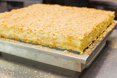 Homemade cake Napoleon, puff pastry custard cream pie Royalty Free Stock Photos