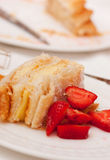 Homemade cake, pastry cream and strawberries Stock Images