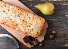 Homemade cake with pears and chocolate Stock Photo
