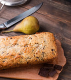 Homemade cake with pears and chocolate Royalty Free Stock Photography