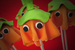 Homemade cake pops with the shape of ghost Halloween pumpkins Royalty Free Stock Photography
