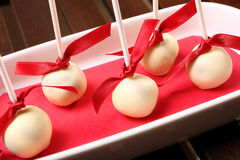 Homemade cake pops with white chocolate Stock Images