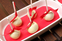 Homemade cake pops with white chocolate Royalty Free Stock Photo