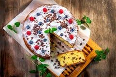 Homemade cake with raisin Royalty Free Stock Photos