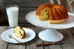 Homemade cake  with raisins and a glass of milk Stock Photography