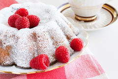 Homemade cake with raspberries Stock Images