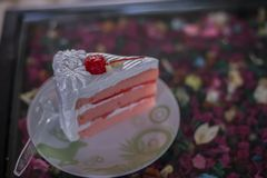 Homemade cake & x22;Red Velvet& x22; decorated with cream stock photography
