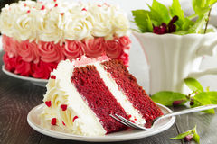 Homemade cake Red Velvet. Decorated with cream Stock Photography
