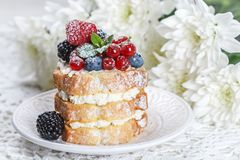 Homemade cake with ricotta and fresh berries-raspberries, red currants, blueberries and blackberries with mint and powdered sugar. Selective focus Royalty Free Stock Photos